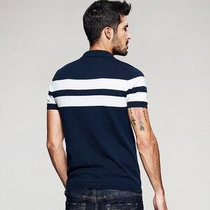 Image 4 - Мужская трикотажная рубашка поло KUEGOU, хлопковая приталенная рубашка в полоску с короткими рукавами, брендовая одежда, 16972, лето 2020
