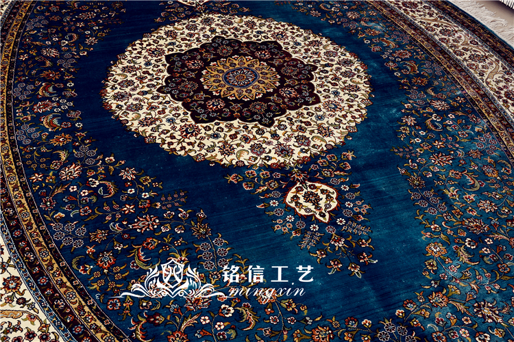 Tapis en soie fait main bleu 6'x9 'tapis en soie noués à la main de fleur persane ovale pour le salon - 4