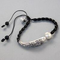 Оптовая продажа черный камень природный жемчуг с серебряной Luck рыбы браслет для Для женщин Йога медитация наручные ювелирные изделия ручно...