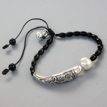 Black Stone Natural Pearl With Chinese Luck Fish Charm Bracelet For Women Yoga Meditation Wrist Jewelry Handmade Unique
