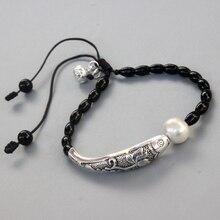 أسود حجر اللؤلؤ الطبيعي مع الأسماك الحظ الصيني سوار Charm للنساء اليوغا التأمل المعصم مجوهرات اليدوية فريدة