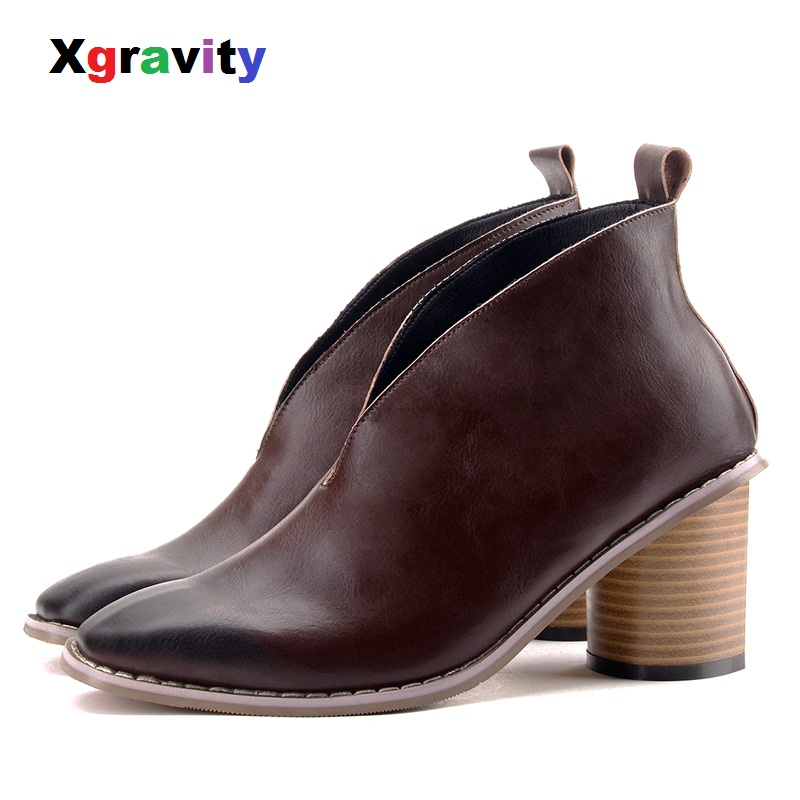 b978930637b8 XGRAVITY 2018 European American Hot Sales Chunky High Heel Women Boots  Elegant Ankle Shoes Women s Casual V Design Shoes S023