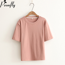 PEONFLY Women T shirts Pure Cotton Tee Shirt Tops Oneck Short Sleeve Basic Summer Tops Tees Black White Solid Top Summer