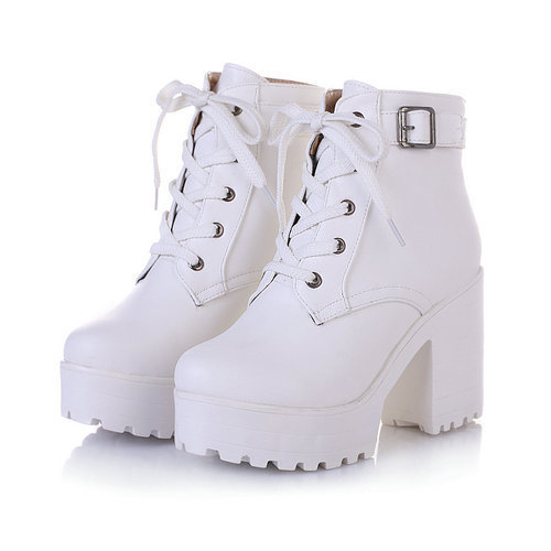 Nikove New 2016 Women Ankle Boots Round Toe Platform Buckle Square High Boots For Women Fashion Winter Punk Shoes Size 34 43 by Nikove