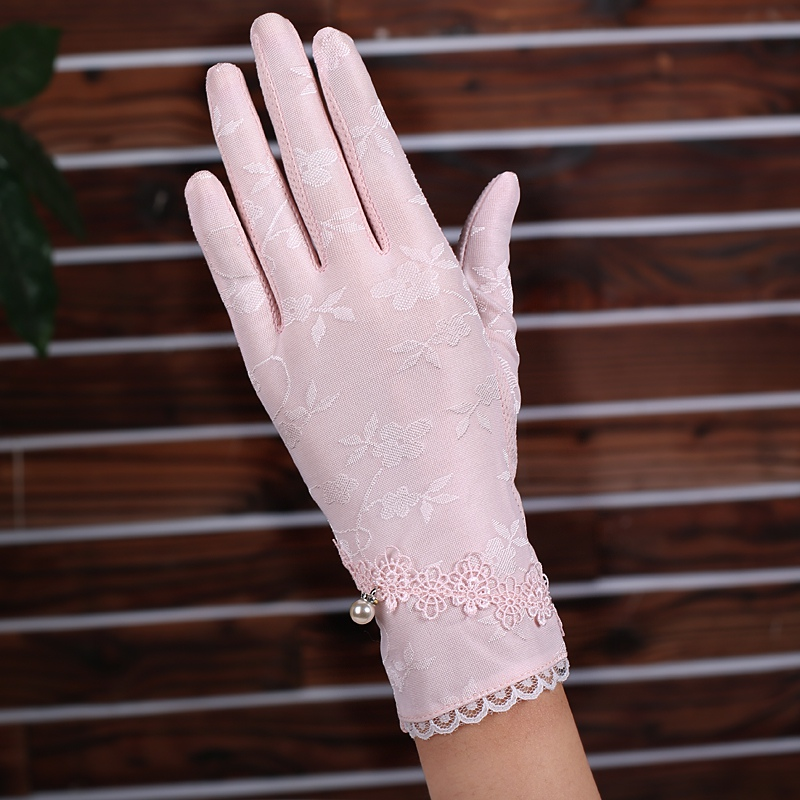 Women Sunscreen Summer Short Sun Protetion Gloves Fashion Ice Silk Lace Driving Thin Touch Screen Gloves Full Finger Mittens