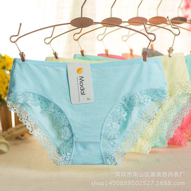 Lace   Panties   Women Fashion Lingerie Solid Pretty Briefs High Quality Cotton Mid Waist Women Underwear