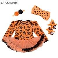 Bat Skull Pumpkin Halloween Costume For Baby Girl Clothes Long Sleeve Dress Headband Shoes Leg Warmers