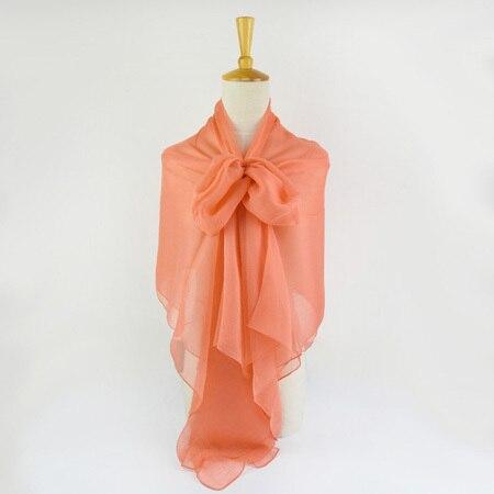 Жатый шелк жоржетовый длинный шарф 110 см X 180 см Чистый шелковый шарф женский однотонный цвет изделия из шифона в большом размере шарф - Цвет: 10