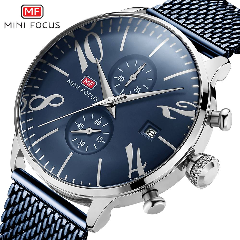 MINI FOCUS 2018 Men's Fashion Sport Watches Men Quartz Analog Date Clock Man Stainless Steel Waterproof Watch Relogio Masculino цена и фото