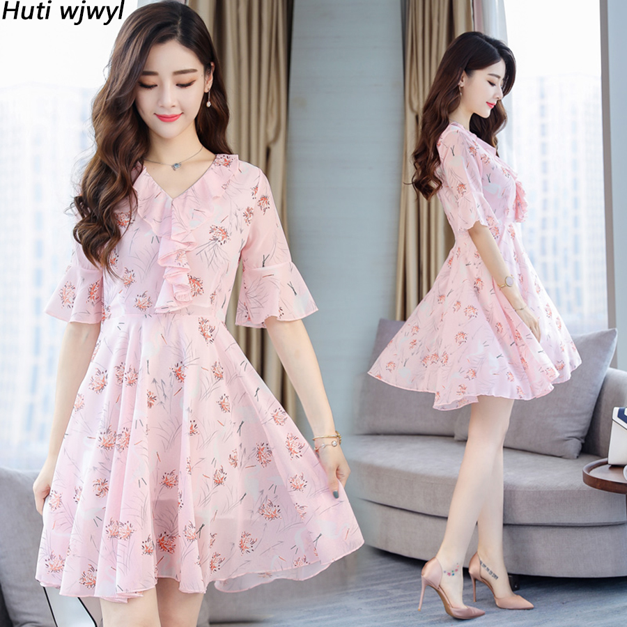 2019 Vintage 3XL Plus Size Pink Print Beach Sexy Dresses Summer Chiffon Boho Mini Sundress Women Bodycon Elegant Party Vestidos