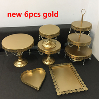gold wedding cake stand set 6pieces cupcake stand barware decorating cooking cake tools bakeware set party dinnerware
