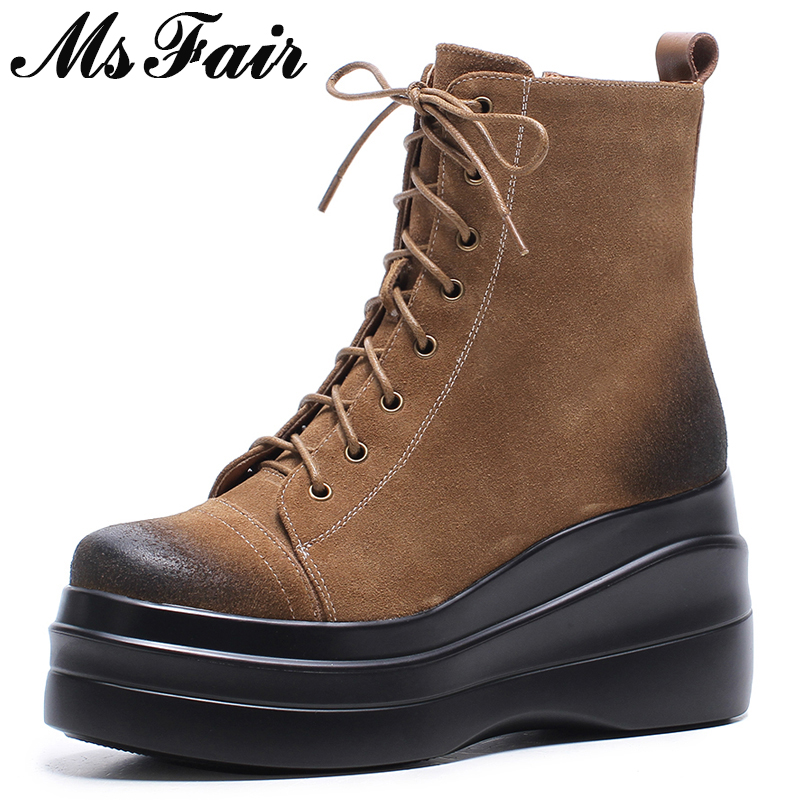 MSFAIR Women Boots Fashion Round Toe Thick Bottom Wedges Ankle Boots Women Shoes Zipper Lace Up Platform Boot Shoes For Girl beffery 2018 british style patent leather flat shoes fashion thick bottom platform shoes for women lace up casual shoes a18a309