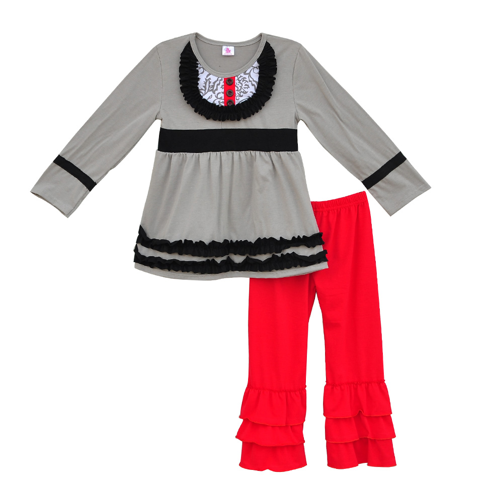 Factory Sale Girls Fall Winter Clothing Gray Swing Top Red Ruffle Pants Outfits Children Boutique Remake Clothing Sets F044 2017 new fall mustard yellow children sets ruffle butterfly sleeves infants clothing baby girl nursing accessory apparel