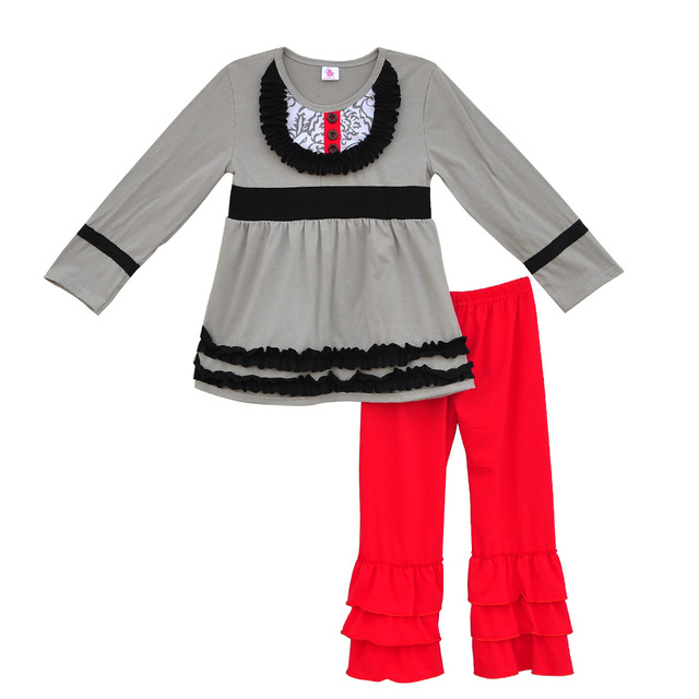 Factory Sale Girls Fall Winter Clothing Gray Swing Top Red Ruffle Pants Outfits  Children Boutique Remake Clothing Sets F044 1db973862