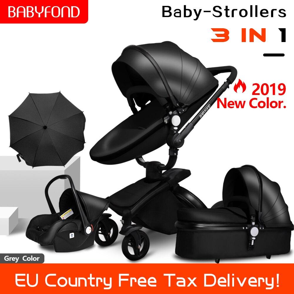 Transporte rápido! Carrinho de bebê dobrável two-way empurre luxo 3 em 1 alta paisagem carrinho de bebê com assento de carro brindes guarda-chuva