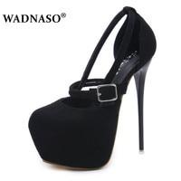 WADNASO New Women Shoes Sexy 16 CM Thin Heel Round Toe Platform Party Pumps Shoes Women Fashion High Heels Wedding Shoes 34 40