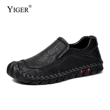 YIGER New Men Loafers Genuine Leather Mens Boat Slip-on Casual shoes 2019 Spring male Leisure Driving  0244