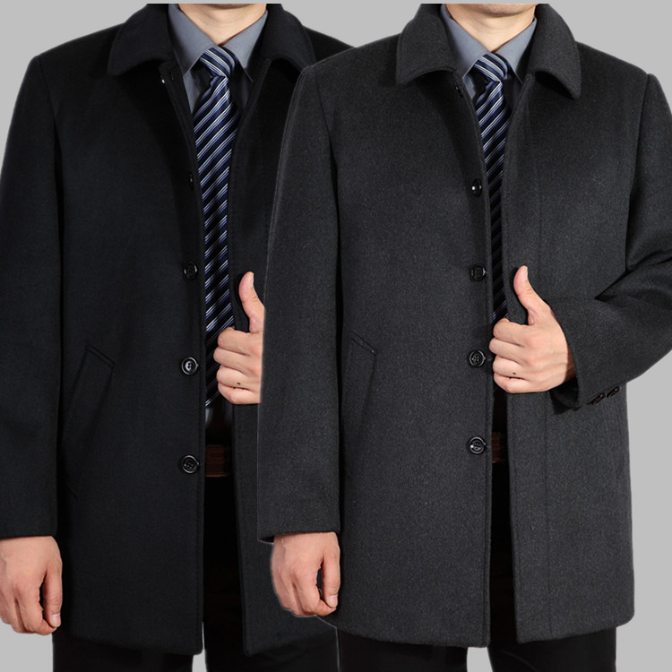 new arrival men's wool coat medium-long male thickening large outerwear winter warm trench plus size M L XL 2XL 3XL 4XL(China)