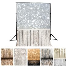 Photographic Background Sliver Golden Sparkles Wood Flooring Vinyl Backdrop Fond Studio Photo for Wedding Children Newborn(China)
