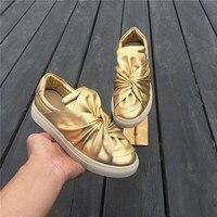 Галстук бабочка кожа Женские туфли лодочки слипоны женская повседневная обувь Chic золото черно белый цвет Женская обувь кроссовки с низким