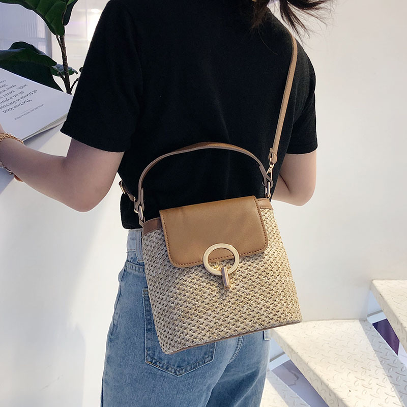 HTB1mf4bS4TpK1RjSZR0q6zEwXXau - Small Straw Bucket Bags For Women Summer Crossbody Bags Lady Travel Purses and Handbags Female Shoulder Messenger Bag