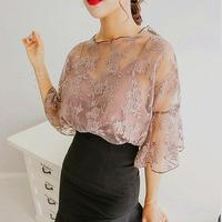 2017 New Hot fashion Women O-Neck Tops wild small tape embroidered chiffon blouse Crochet lace Two-piece Trumpet sleeves