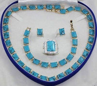 real silver jewelry Women's Wedding bridal Woman's Jewellery gem stone necklace bracelet ring earring set 5.23
