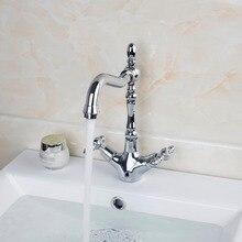 Двойная Ручка бортике спрей Chrome полированная водопроводной воды раковина Кухня кран Ванная комната Умывальник кран