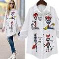 Блузка Женщины Весна Осень Новый Blusas женская Рубашка Плюс Размер Женщин Одежда Череп Печати С Длинным Рукавом Femme Блузки Белый