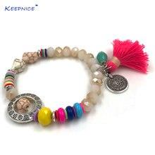 Женские богемные пляжные браслеты с цветными кисточками кристаллами
