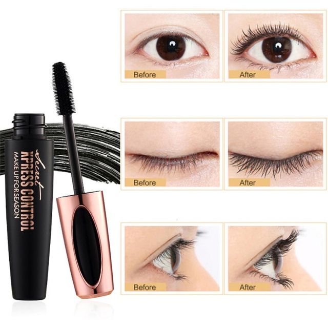 b887edae418 1PC New Long Curling mascara Makeup Eyelash Black Waterproof Fiber Mascara  Eye Lashes makeup 4d silk