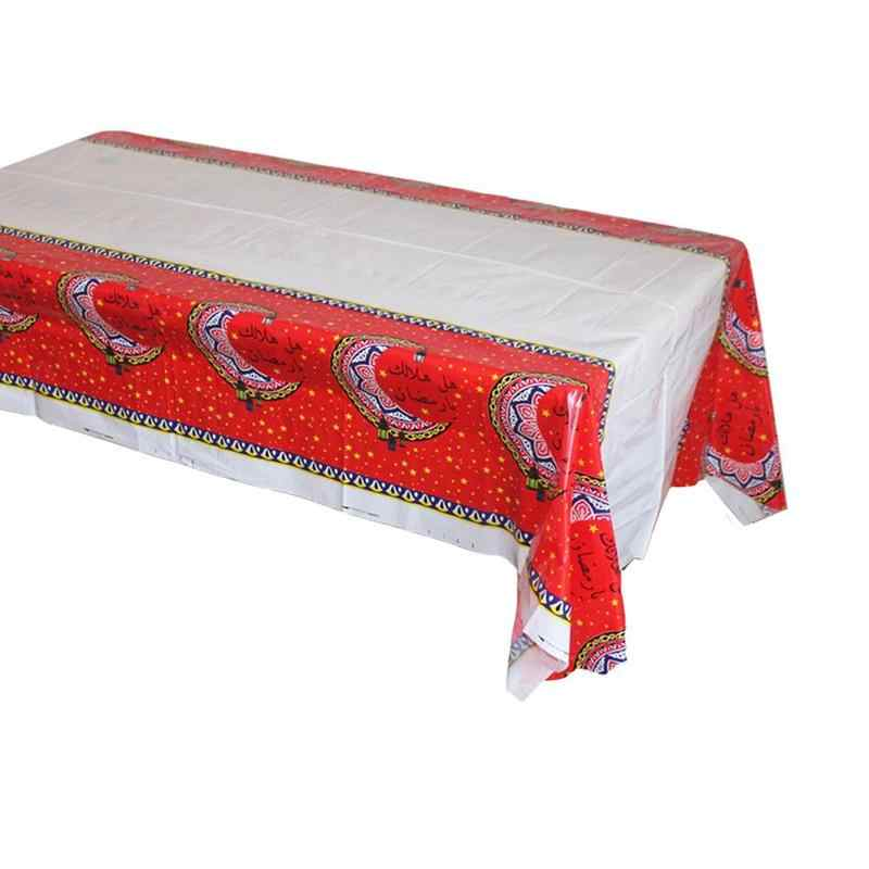عيد مبارك رمضان غطاء الطاولة مفرش المائدة مقاوم للماء للمسلمين الإسلامية الديكور البلاستيك الجدول الملابس 180*108 سنتيمتر