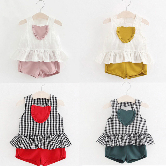 60a9f0daaf5 2018 Newly Summer Sweet Lovely Toddler Baby Girls 2PCS Sets Heart Plaid  Patchwork Ruffles Vest Tops Solid Shorts Outfit 6M-4Y
