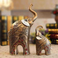 LUCKY Elephant Decoration 1 Pair Hot Resin Crafts Vintage Mysterious Mother & Son Elephant Figurines Home Decoration 32*13*6 Cm