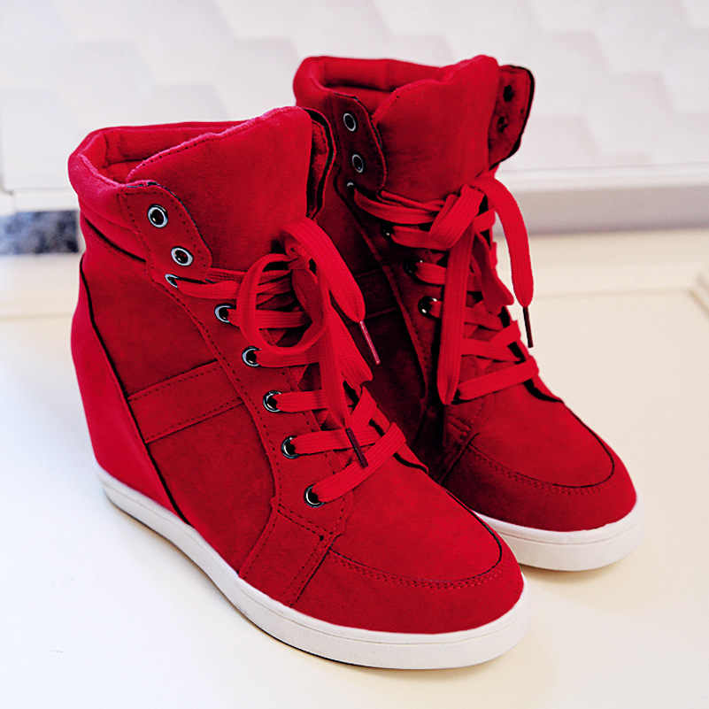 Nuevo otoño botas altas para mujer primavera invierno tacón oculto plataforma cuña Casual Shoesred negro Moda Mujer Zapatos