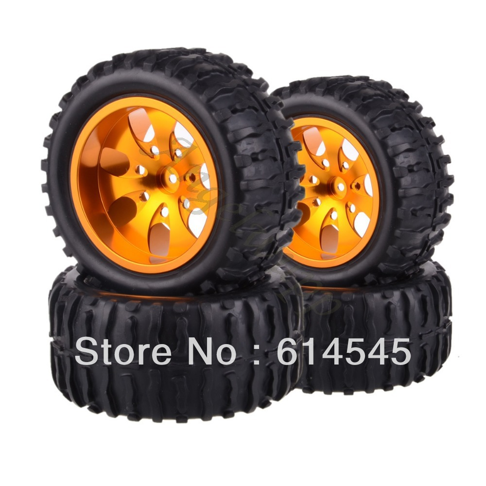 4xRC Monster Truck Bigfoot Metal 1:10 Wheel Rim & Tyre Tires 12MM HEX 88127 4pcs lot 2 2 rubber tires tyre plastic wheel rim 12mm hex for redcat exceed hpi hsp rc 1 10th off road monster truck bigfoot