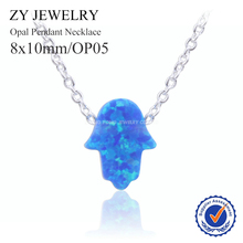 New Arrival 8x10mm Hamsa Opal Pendant Necklace Silver Plated Fashion OP05 Blue Fatima Opal Stone Necklace for Gift