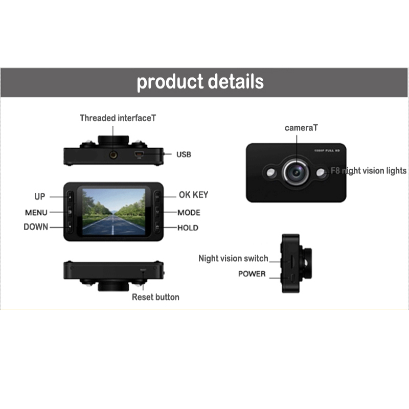 2.4 Inch Portable Car DVR Vehicle Camera Traveling Data Recorder Dash Cam Night Vision Without Leakage Seconds Camcorder