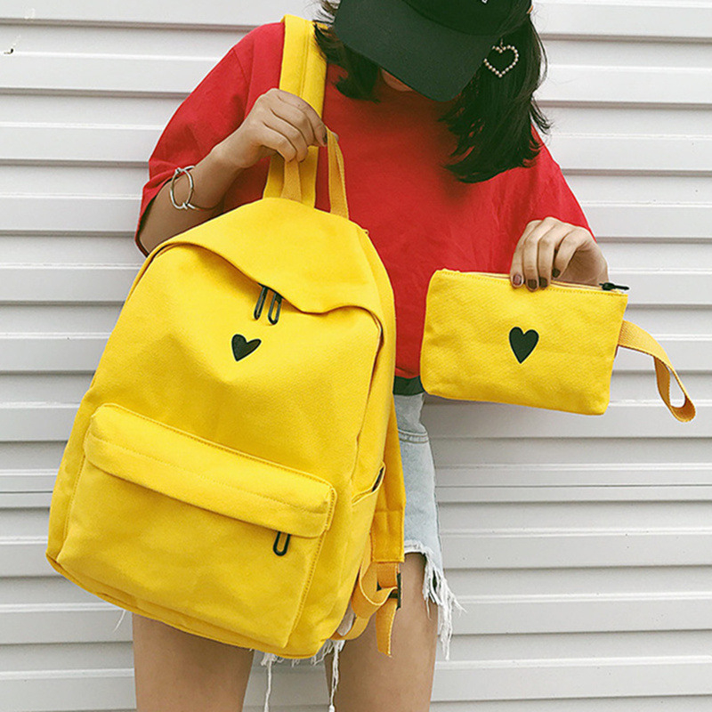 Moon Wood Women s Backpack Canvas Printed Heart Yellow Backpack Korean Style Students Travel Bag Girl Moon Wood Women's Backpack Canvas Printed Heart Yellow Backpack Korean Style Students Travel Bag Girl School Bag Laptop Backpack