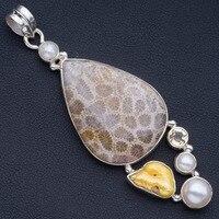 Natural Chrysanthemum Jasper,Biwa Pearl,River Pearl and Citrine 925 Sterling Silver Pendant 3 P0983