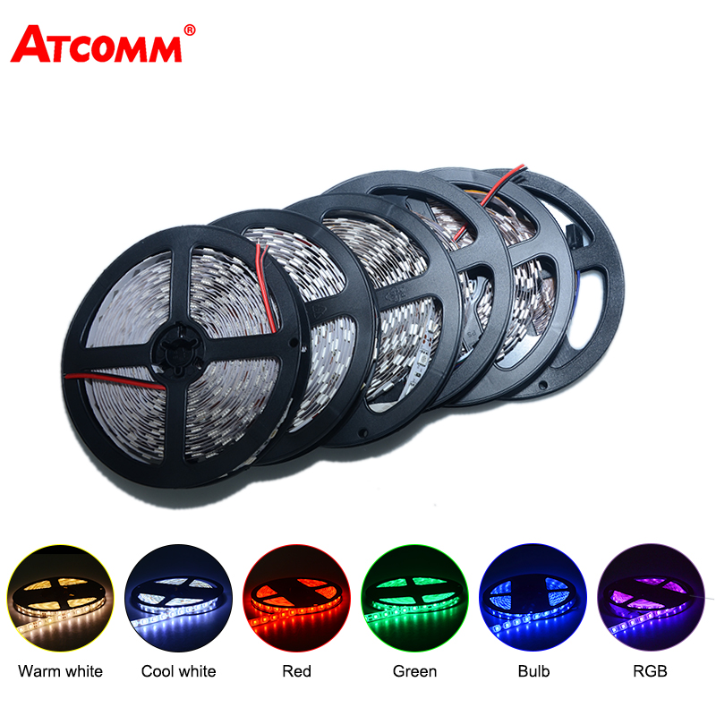 5 Meters 5050 RGB LED Strip Cahaya DC 12 V 60 LEDs / m Waterproof IP67 LED Diode Ribbon Merah Hijau Biru Cool / Warm White
