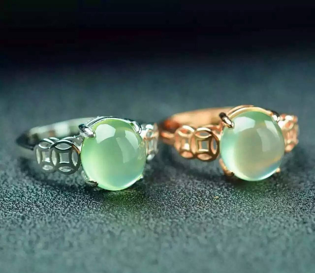 Natural prehnite stone Natural gemstone Ring 925 sterling silver trendy Elegant Lucky hollow circular women's gril party Jewelry