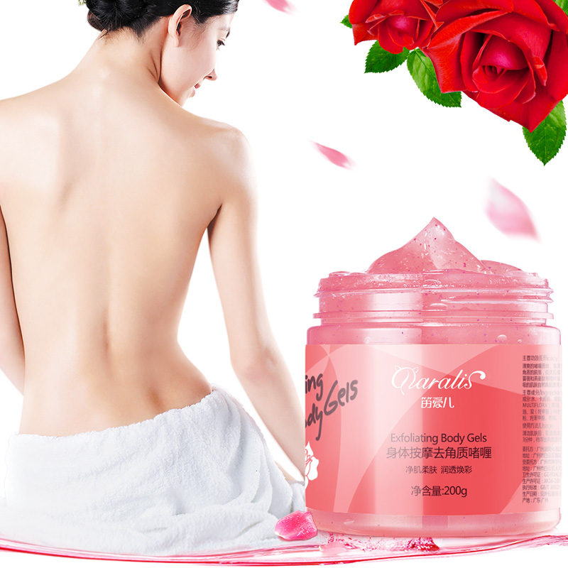 200G Rose Body Scrub Whitening Exfoliating Gel Deep Cleaning Peeling Dead Skin Remover Cream Moisturizing For Body Skin Care
