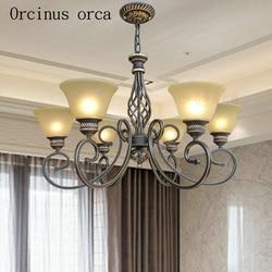 Amerykański styl antyczny szklany żyrandol salon sypialnia europejskie luksusowe klasyczne wszystkie miedziany żyrandol darmowa wysyłka w Wiszące lampki od Lampy i oświetlenie na