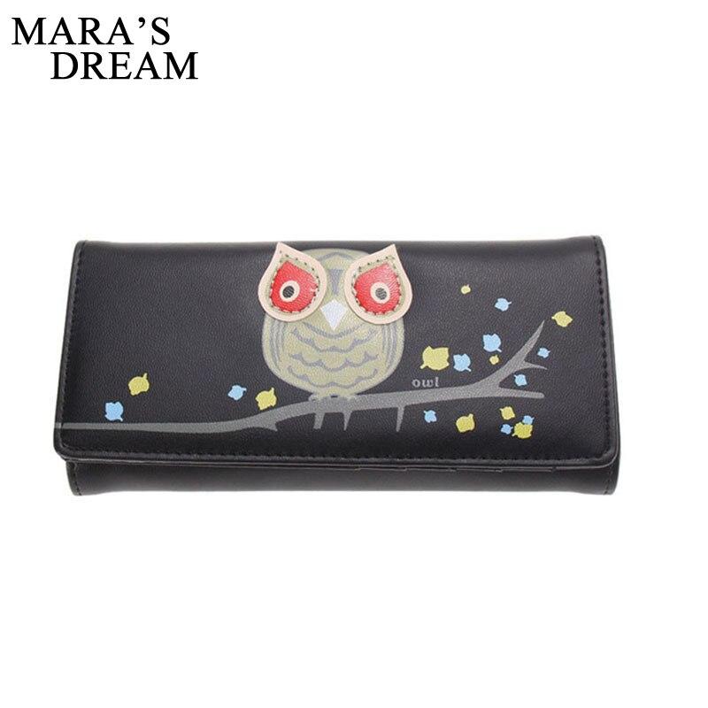 Maras Dream New Fashion Owl Pattern Wallet Women PU Leather Wallets Coin Card Holder Long Purses Girls Lovely Cartoon Wallets
