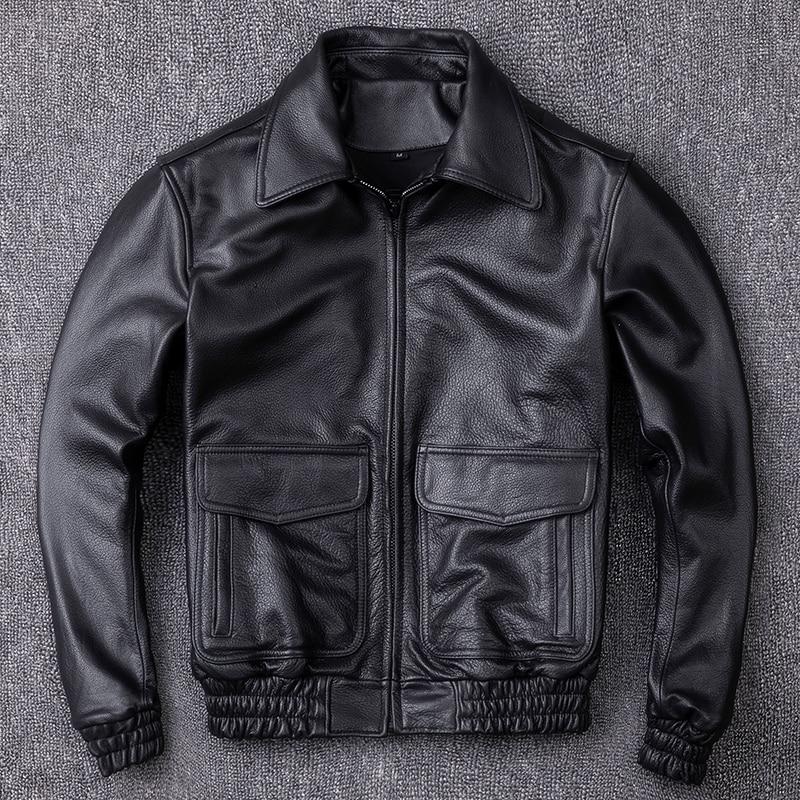 Vache Veste En Taille Vol Manteau La Cuir Peau Militaire Quetsche A2 Plus Harley Véritable Hommes Pilote Black Xxxxl De Noir D'hiver Russe EHWYD2I9