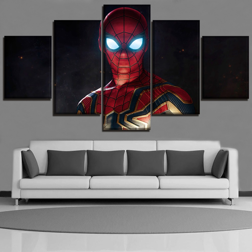 Canvas Painting HD Printed Modern Wall Art Poster Home Decor 5 Panel Movie Avengers 3 Infinity War Spiderman Pictures Framework image