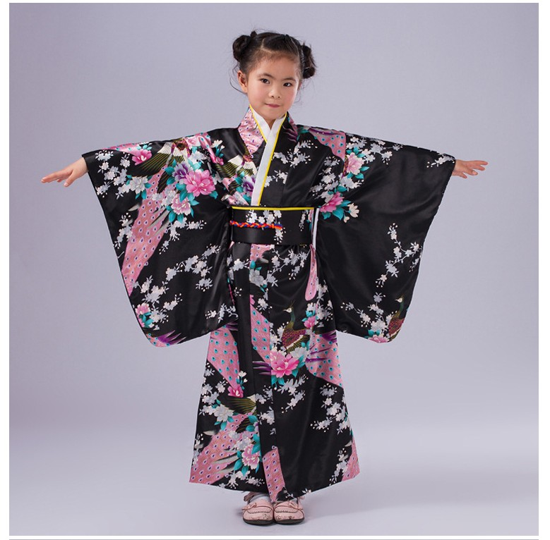 New Black Japanese Baby Girl Kimono With Obi Traditional Yukata Obi Performance Dance Dress Kid Evening Dress Size S M L BG003