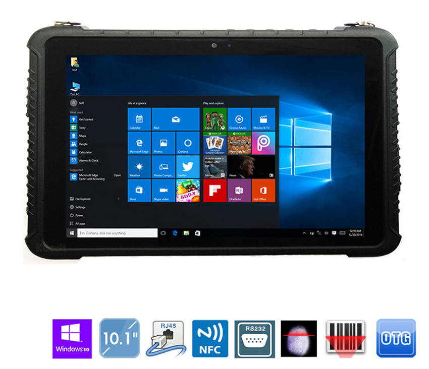 """China Windows 10 Pro 10.1"""" Industrial Rugged Waterproof Tablet PC Phone GPS Android  LTE Fingerprint Reader 2D Barcode Scanner"""