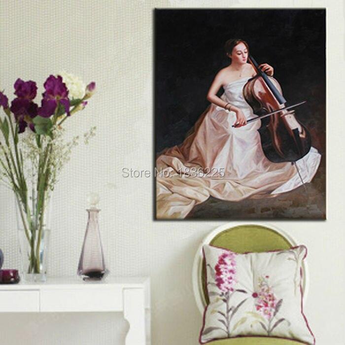 Handmade pittura a olio bella ragazza Cinese con strumento musicale violoncello musica pittura a olio per la decorazione soggiorno - 2